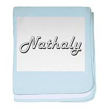 Nathaly Classic Retro Name Design baby blanket