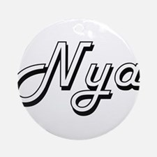 Nya Classic Retro Name Design Ornament (Round)