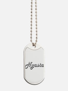 Nyasia Classic Retro Name Design Dog Tags