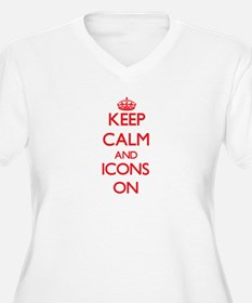 Keep Calm and Icons ON Plus Size T-Shirt