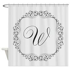 CUSTOM Monogram Florid Script Black Shower Curtain