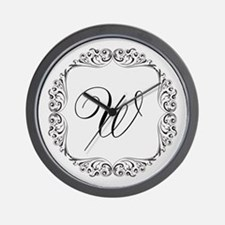 CUSTOM Monogram Florid Script Black Wall Clock