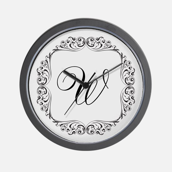 CUSTOM Monogram Florid Script Black Wall Clock