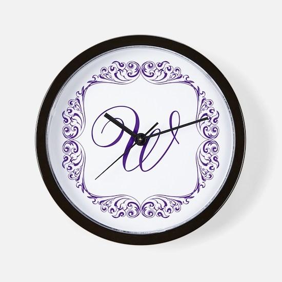 CUSTOM Monogram Florid Script Purple Wall Clock