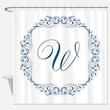 CUSTOM Monogram Florid Script Blue Shower Curtain