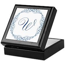 CUSTOM Monogram Florid Script Blue Keepsake Box