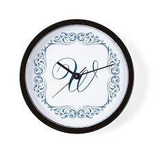 CUSTOM Monogram Florid Script Blue Wall Clock