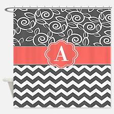 Gray Coral Swirls Chevron Monogram Shower Curtain