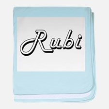 Rubi Classic Retro Name Design baby blanket