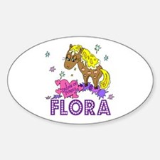 I Dream Of Ponies Flora Oval Decal