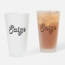 Saige Classic Retro Name Design Drinking Glass