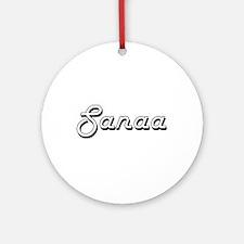 Sanaa Classic Retro Name Design Ornament (Round)