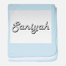 Saniyah Classic Retro Name Design baby blanket