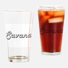 Savana Classic Retro Name Design Drinking Glass