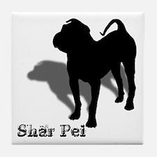 Shar Pei Silhouette Tile Coaster