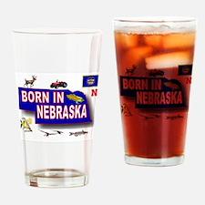 NEBRASKA BORN Drinking Glass