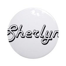Sherlyn Classic Retro Name Design Ornament (Round)