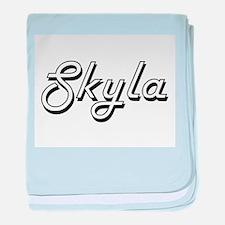 Skyla Classic Retro Name Design baby blanket