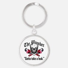 Laughing Plumber Skull Round Keychain