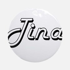 Tina Classic Retro Name Design Ornament (Round)
