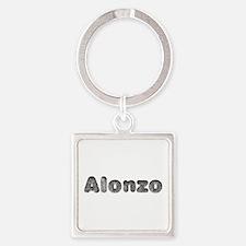 Alonzo Wolf Square Keychain