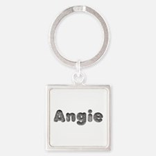 Angie Wolf Square Keychain