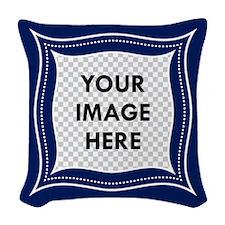 CUSTOM Photo Frame Blue Woven Throw Pillow