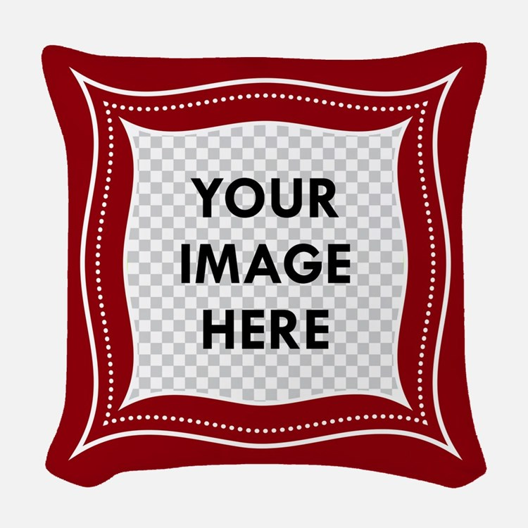 CUSTOM Photo Frame Red Woven Throw Pillow