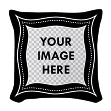 CUSTOM Photo Frame Black Woven Throw Pillow
