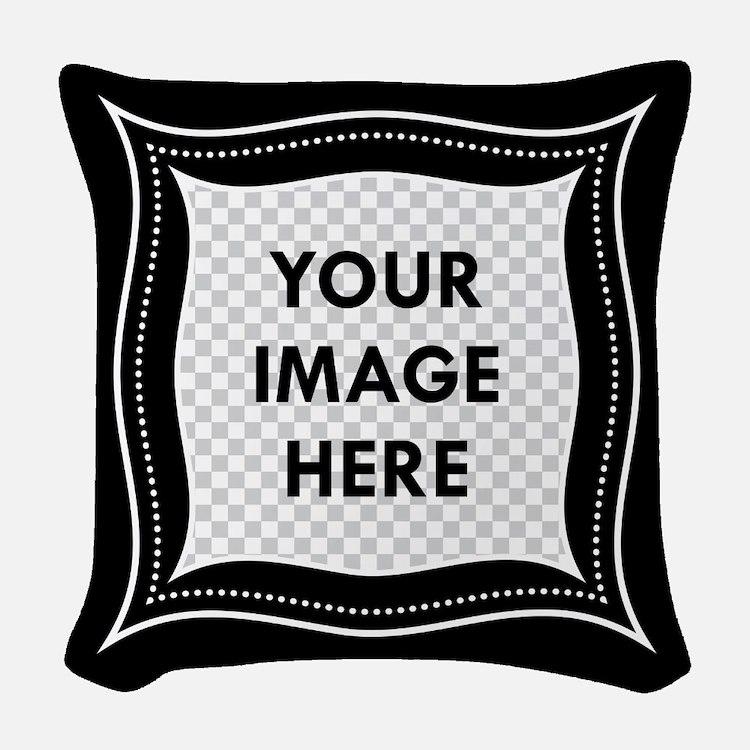 CUSTOM Photo Frame Black Woven Throw Pillow