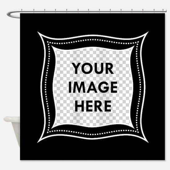 CUSTOM Photo Frame Black Shower Curtain