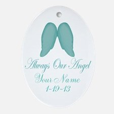 Always Our Angel Blue Ornament (Oval)