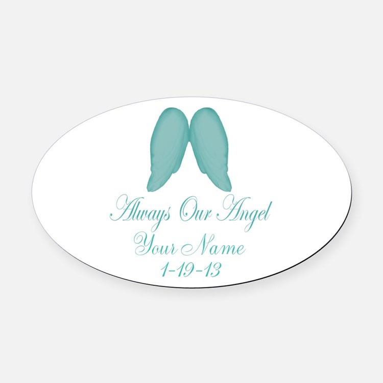 Always Our Angel Blue Oval Car Magnet