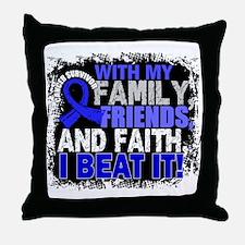 Colon Cancer Survivor FamilyFriendsFa Throw Pillow
