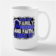 Colon Cancer Survivor FamilyFriendsFait Large Mug