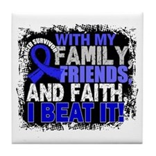 Colon Cancer Survivor FamilyFriendsFa Tile Coaster