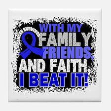 Colon Cancer Survivor FamilyFriendsFa Tile Coaster