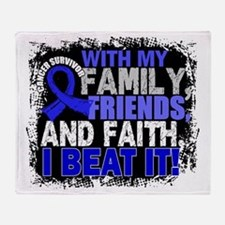 Colon Cancer Survivor FamilyFriendsF Throw Blanket
