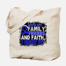 Colon Cancer Survivor FamilyFriendsFaith Tote Bag