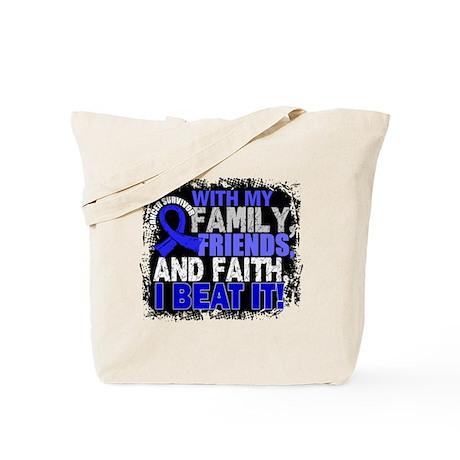 rectal cancer survivor familyfriendsfaith tote bag by