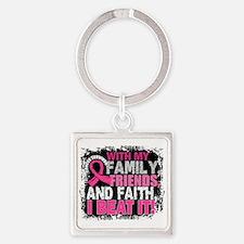 Breast Cancer Survivor FamilyFrien Square Keychain