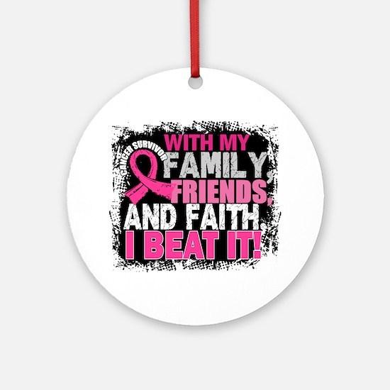Breast Cancer Survivor FamilyFrie Ornament (Round)