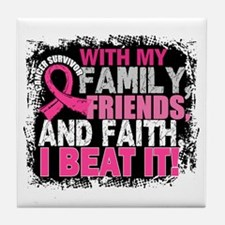 Breast Cancer Survivor FamilyFriendsF Tile Coaster