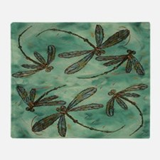 Dragonfly Flit Myrtle Green Throw Blanket