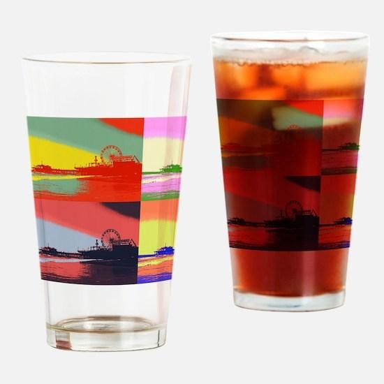 Santa Monica Pier Pop Art Drinking Glass
