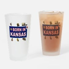 KANSAS BORN Drinking Glass