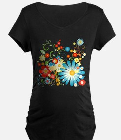 Floral explosion of color Maternity T-Shirt