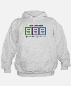 CUSTOM 3 Image Frame Green Blue Purple Hoodie