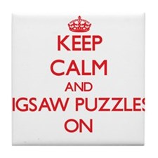 Keep Calm and Jigsaw Puzzles ON Tile Coaster