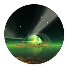 Moon View on Planet Newerades Round Car Magnet